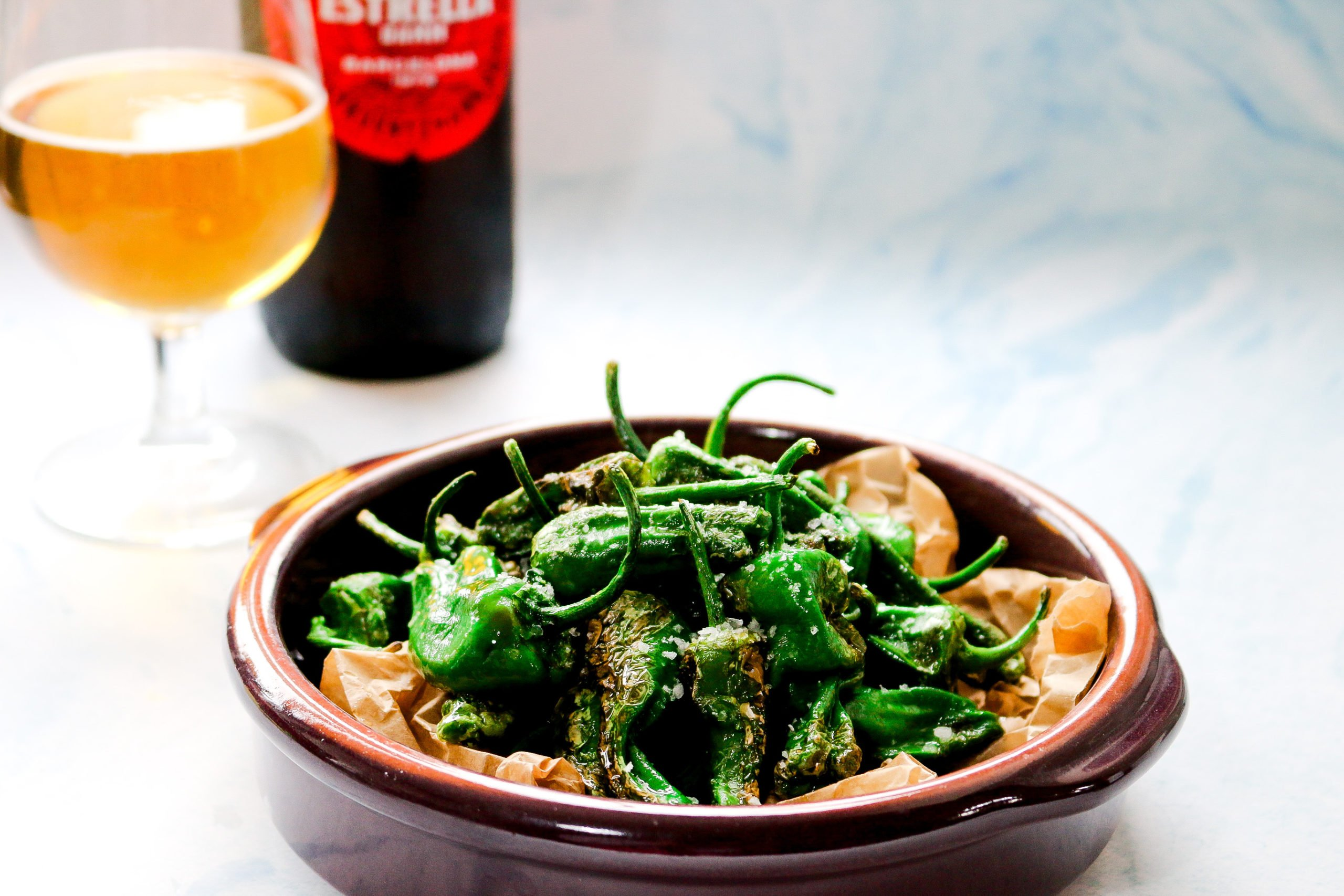 Blistered Padron Peppers with Cornish Sea Salt
